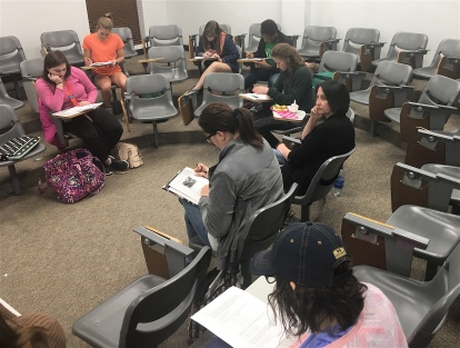 Students and teachers at a collaboration meeting taught by Starla Howard.