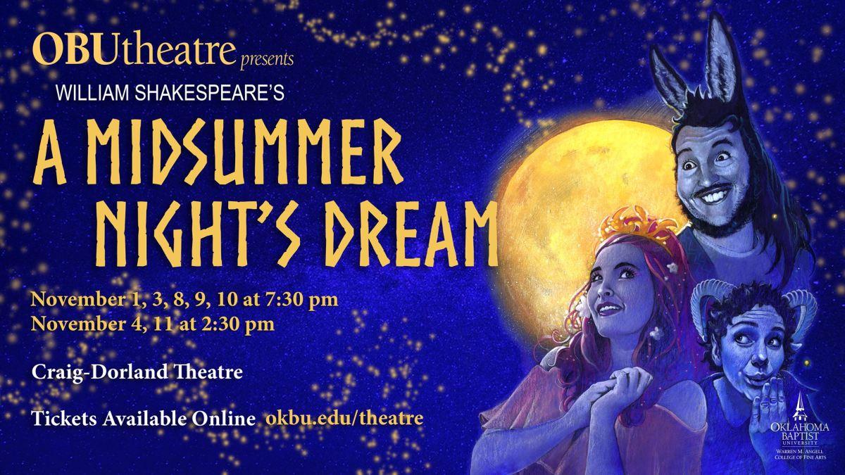 OBU Theatre presents Shakespeare's comedy: 'A Midsummer Night's Dream' using aerials, magicallighting
